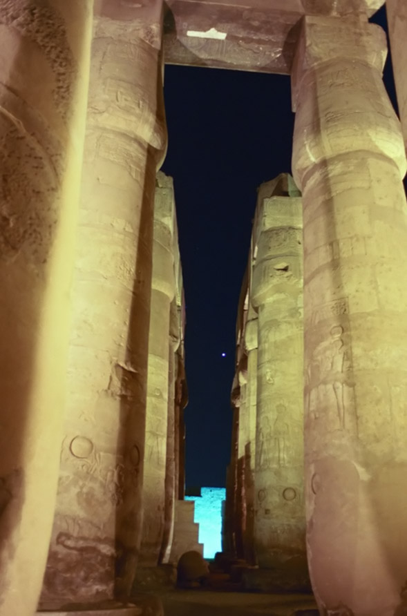 Venus Over Luxor Temple 2 - by: Aymen Ibrahem (Canon 28mm, F2.8, 1 second exposure, Kodak Ultra 400)