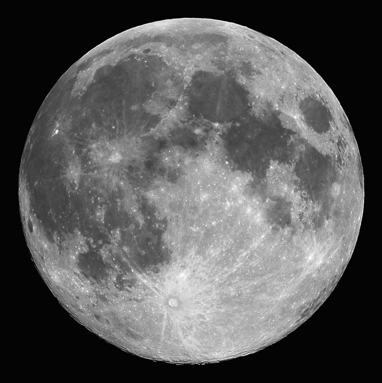 The Moon - with prominent features indicated.