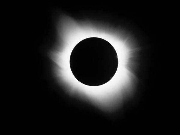A Total Solar Eclipse - The surrounding cloud is the corona, only visible on Earth during a total eclipse