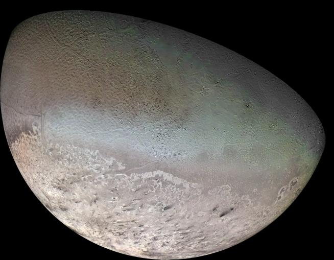 Neptune's only large moon Triton is similar to Pluto and has a distinctive cantaloupe appearance