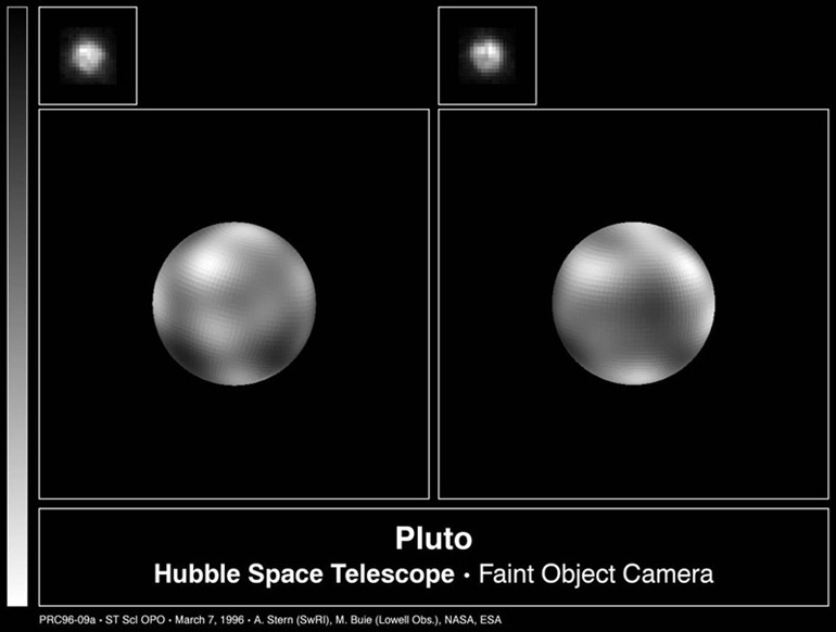 An image of Pluto by the Hubble Space Telescope's Faint Object Camera.