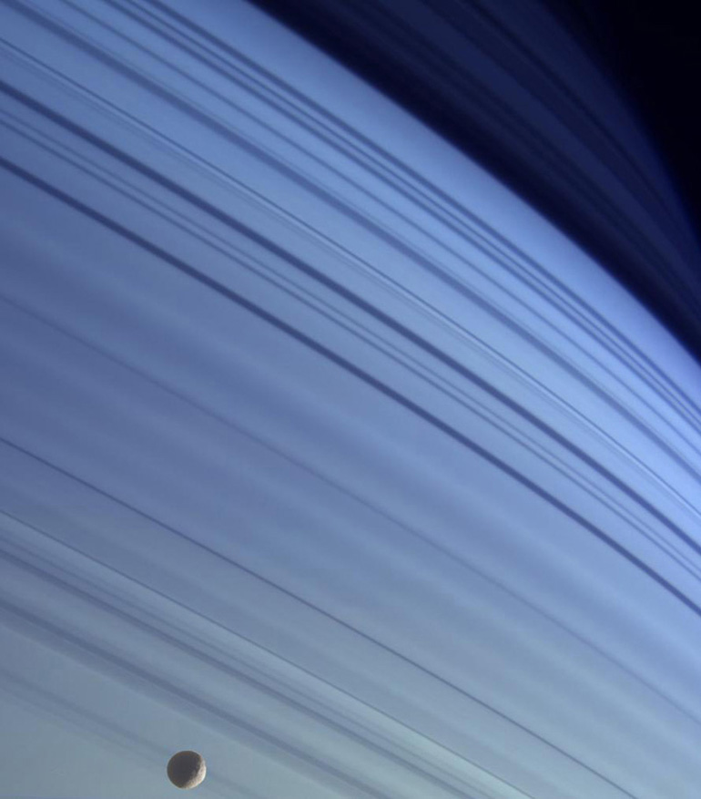 True color rings with Mimas in the foreground.