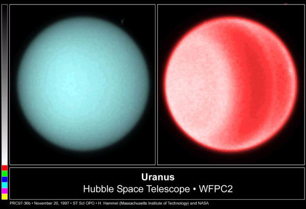 The polar hot spot, seen in this Hubble image, is the result of Uranus' unusual rotation.