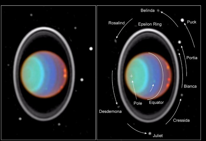 This Voyager 2 image reveals the system of rings with associated satellite moons