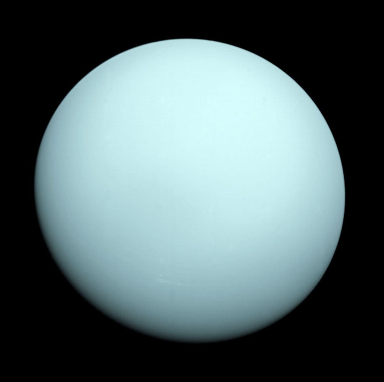 This un-enhanced Voyager 2 image reveals Uranus in its near true color